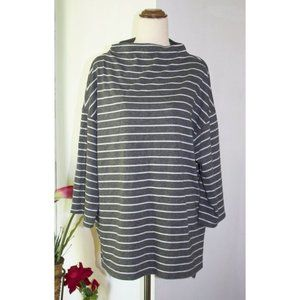Suzannegrae Mock High Neck Tunic Top Size XL Stripes Long-sleeve